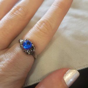 Crystal Ball Ring Vintage Silver Tone